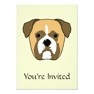 Boxer Dogs Face. Personalized Announcement