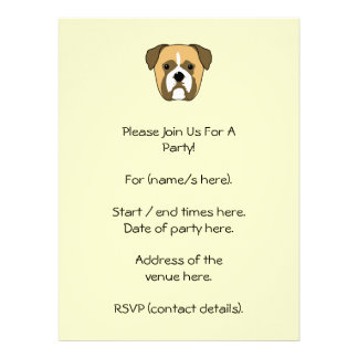 Boxer Dogs Face. Personalized Invitation