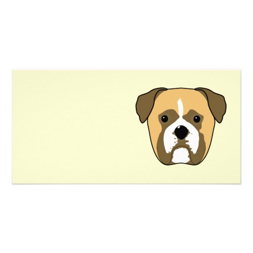 Boxer Dogs Face. Photo Card Template