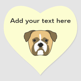 Boxer Dogs Face. Heart Sticker