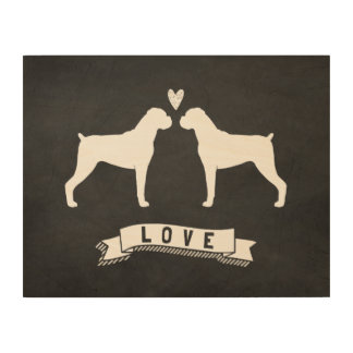 Boxer Dogs Love - Dog Silhouettes w/ Heart Wood Wall Art