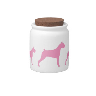 Boxer Dogs (pink) Candy Jar