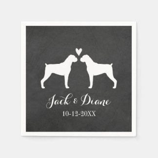 Boxer Dogs Wedding Couple with Custom Text Paper Napkin