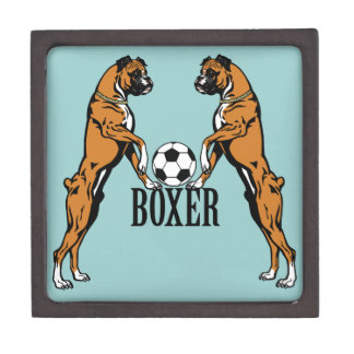 boxer dogs with soccer ball jewelry box