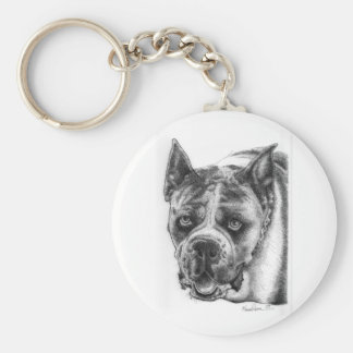 Boxer Drawing Basic Round Button Keychain