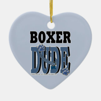 Boxer DUDE Double-Sided Heart Ceramic Christmas Ornament