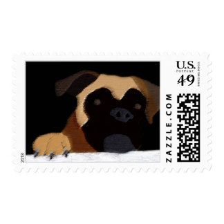 Boxer face with paw postage