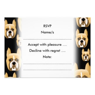 Boxer Faces Dog Pattern on Black Personalized Announcements