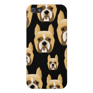 Boxer Faces. Dog Pattern on Black. iPhone 5 Covers