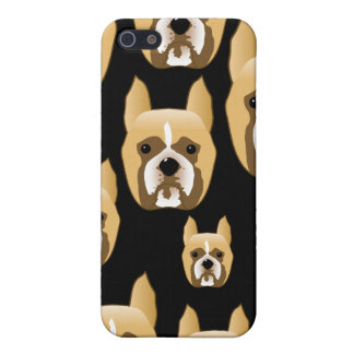 Boxer Faces. Dog Pern on Black. Cases For iPhone 5
