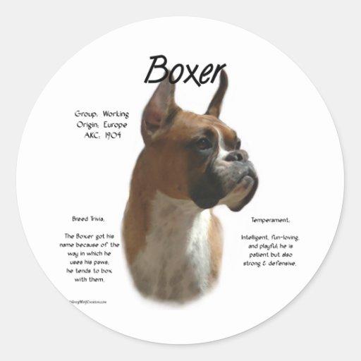 Boxer (fawn) History Design Classic Round Sticker