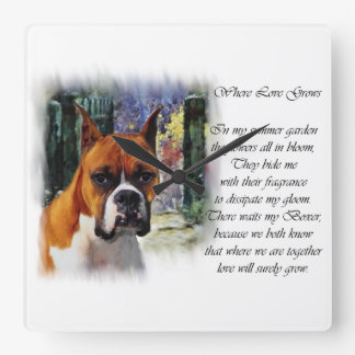 Boxer Gifts Where Love Grows Square Wall Clock