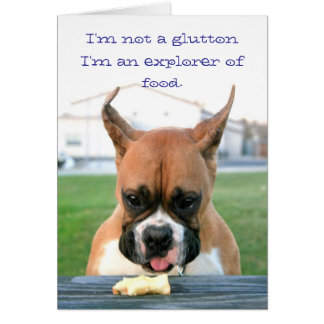 Boxer glutton greeting card