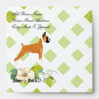 Boxer ~ Green Leaves Design Envelope