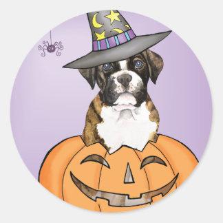 Boxer Halloween Classic Round Sticker