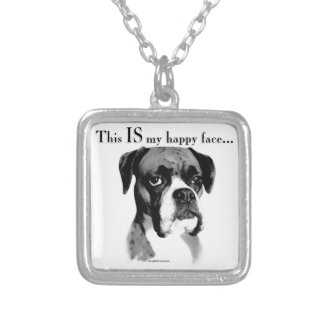 Boxer Happy Face Silver Plated Necklace