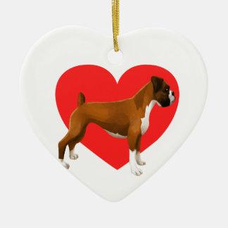 Boxer Heart Ceramic Ornament