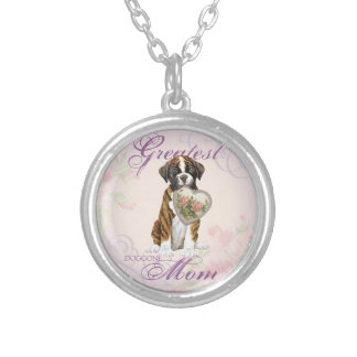 Boxer Heart Mom Round Pendant Necklace