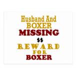 Boxer  & Husband Missing Reward For Boxer Post Cards