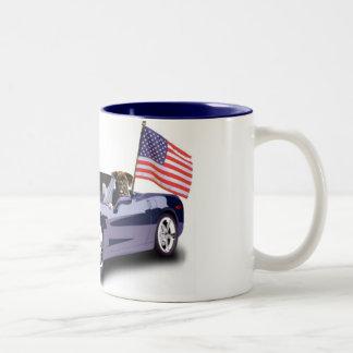 Boxer in blue sportscar mug