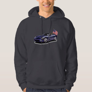 Boxer in blue sportscar sweatshirt