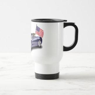 Boxer in blue sportscar travel mug