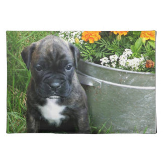 boxer in flowers placemat