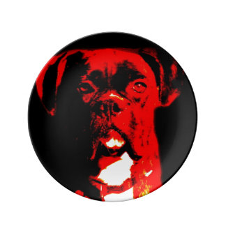 Boxer in red porcelain plates