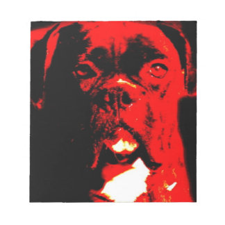 Boxer in red notepad
