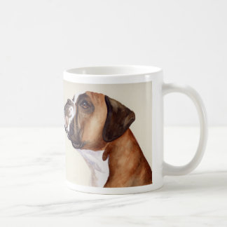 Boxer in watercolor mug with breed info text