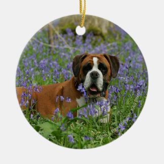 Boxer Laying in Bluebells Ceramic Ornament