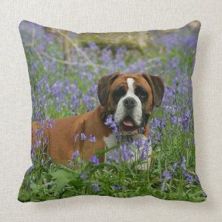 Boxer Laying in Bluebells Pillow