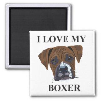 Boxer Love 2 Inch Square Magnet