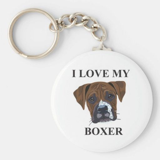 Boxer Love Basic Round Button Keychain