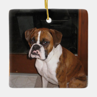 Boxer Love Ceramic Ornament