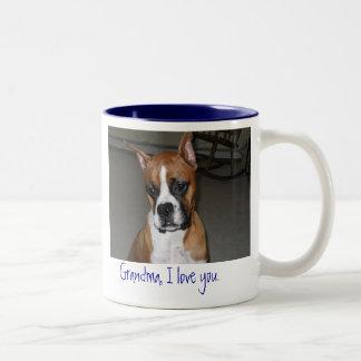 Boxer love grandma Two-Tone coffee mug