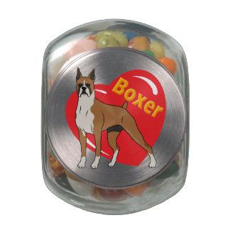 Boxer Love Heart Glass Jar