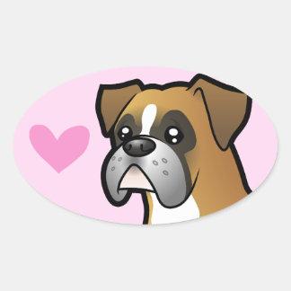 Boxer Love Oval Sticker