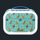 """Boxer Lunch Box<br><div class=""""desc"""">Cute cartoon style Boxer with a scattering of bones and paw tracks. This design is intended to tile seamlessly.</div>"""