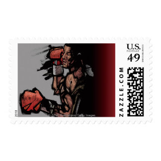 Boxer lying down postage