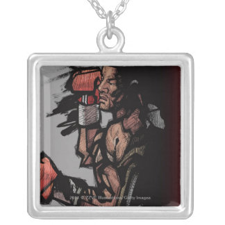 Boxer lying down square pendant necklace