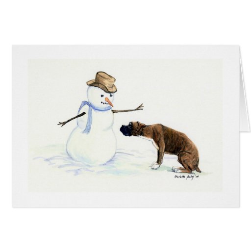 """Boxer Meets Snowman"" Dog Art Notecard Greeting Cards"