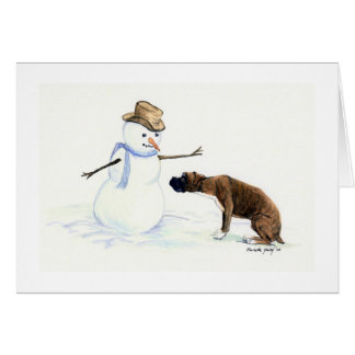 """Boxer Meets Snowman"" Dog Art Notecard Stationery Note Card"