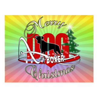BOXER MERRY CHRISTMAS POSTCARD