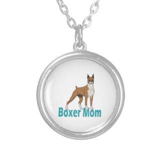 Boxer Mom 1 Round Pendant Necklace