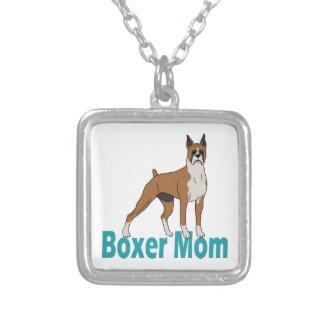Boxer Mom 1 Square Pendant Necklace