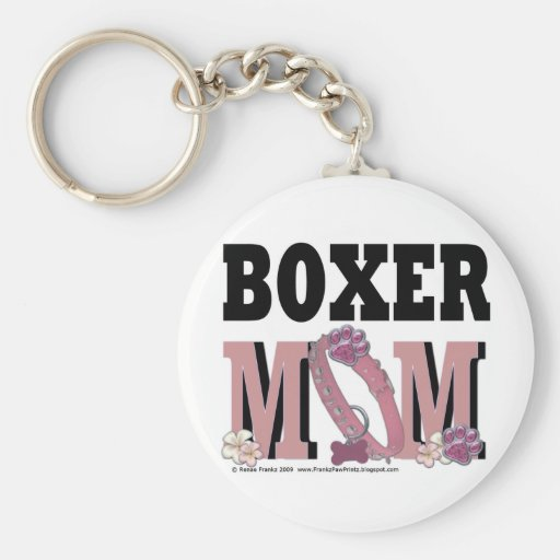 Boxer MOM Basic Round Button Keychain