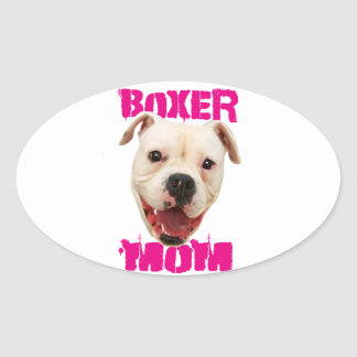 Boxer Mom Dog Oval Sticker