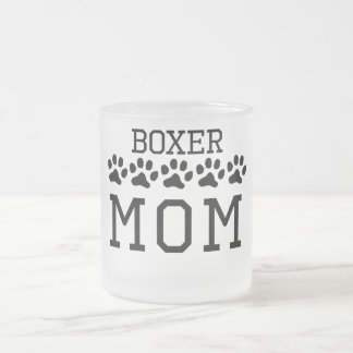 Boxer Mom Frosted Glass Coffee Mug