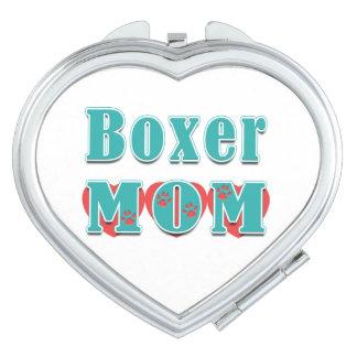 Boxer Mom Hearts Paw Prints Vanity Mirror